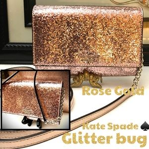 Kate Spade ♠️ glitter bug in rose gold crossbody